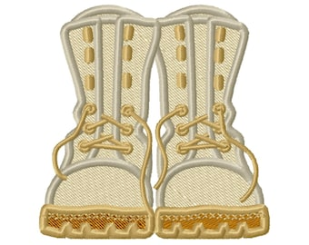 Combat Boots, military army soldier scout team boy girl boots fill stitch and applique machine embroidery designs sizes 3, 4, 5, 6 inches