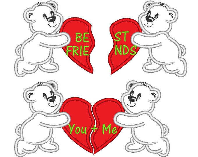 Teddies Best Friends with a divided heart - 2 types - machine embroidery applique designs - 4x4 and 5x7  INSTANT DOWNLOAD