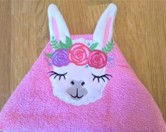 HOODED TOWELS llama with roses crown  hooded towel topper machine embroidery design head ears crown ITH in the hoop dimensional  applique