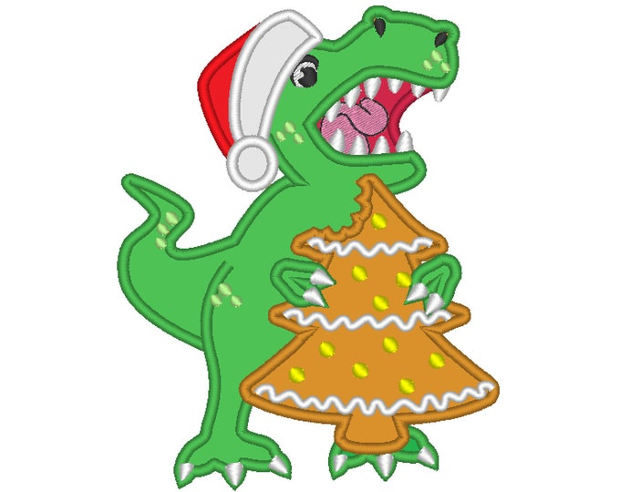 Bitten Christmas tree gingerbread and T-rex Christmas dinosaur Santa hat machine applique designs assorted sizes, for hoops 4x4, 5x7, 6x10