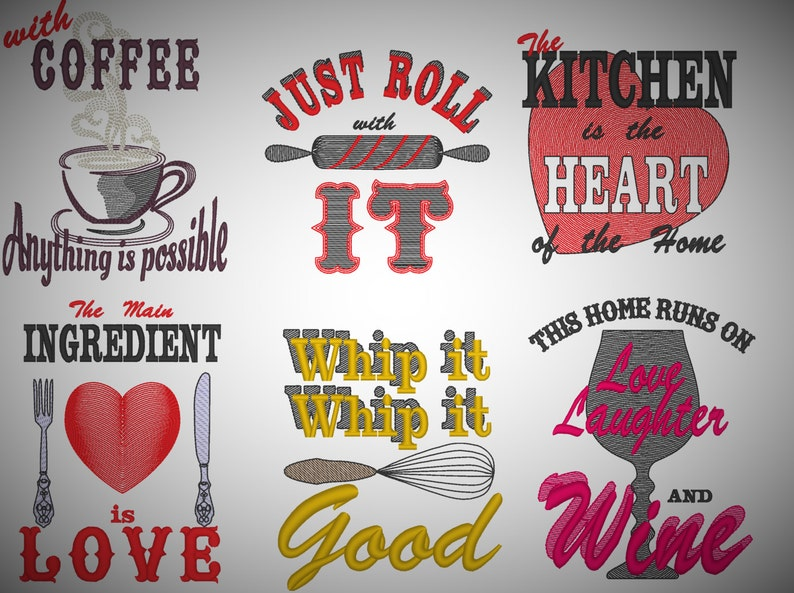 Kitchen quotes Pack price 6 towel embroidery designs quick ...