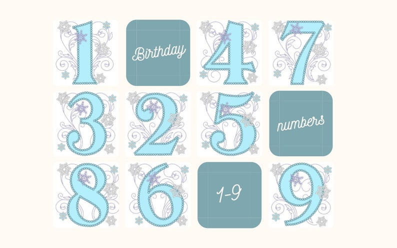 Frozen Swirls Birthday Numbers whole set from 1 up to 9 with image 0