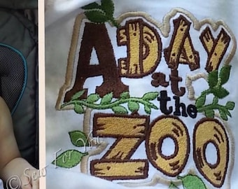 A Day at the Zoo Title patch machine embroidery applique design - for hoop 4x4, 5x7, 6x10 INSTANT DOWNLOAD