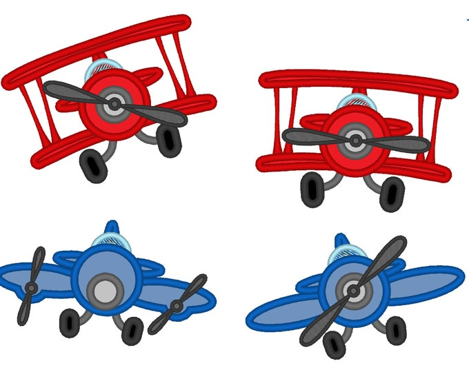 Airplanes - set of 4 - Machine embroidery applique designs - 4, 5, 6, 7 and 8 inches  INSTANT DOWNLOAD