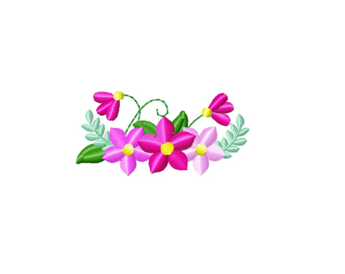 Little small wee micro mini flowers machine embroidery designs assorted sizes 2, 2.5, 3 inches floral doll outfit or face mask decoration