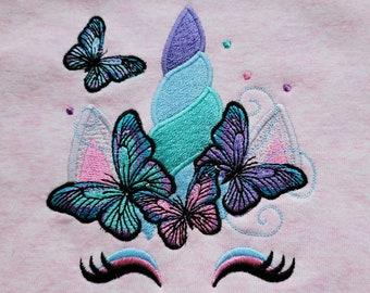 Magic fairytale Unicorn head with butterflies, butterfly crown applique machine embroidery designs Summertime unicorn girl face summer