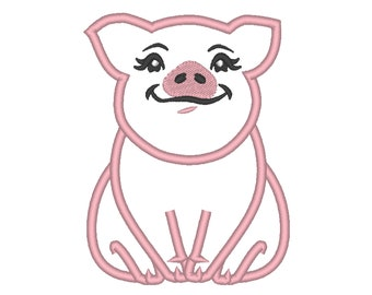 Piggie, pig, awesome pig heifer, farm girl pig applique machine embroidery designs multiple sizes 4, 5, 6, 7, 8  inches farm animal adorable