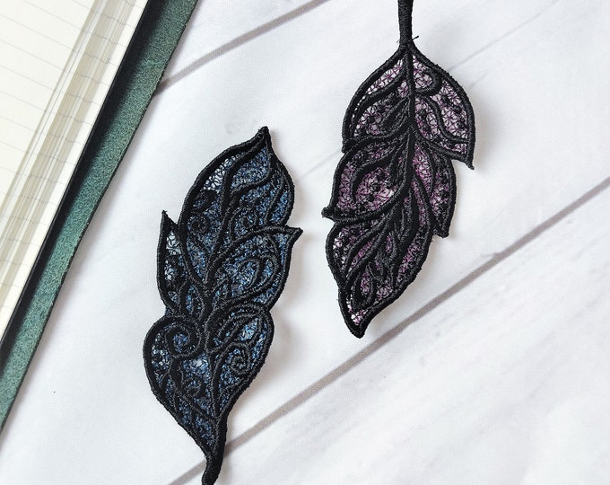 FSL free standing lace Feathers 2 types feather machine embroidery designs assorted sizes dream catcher feather bookmark earrings hairclip