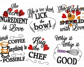 This kitchen is sprinkled with love SET of 6 designs - Kitchen cute quotes - machine embroidery designs - 4x4, 5x7  INSTANT DOWNLOAD