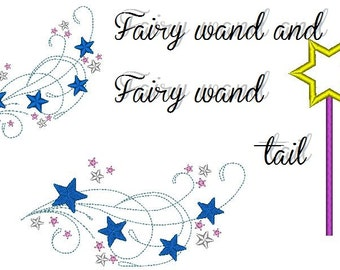 Fairy wand and Fairy wand tail machine embroidery designs, download for hoop 4x4 and 5x7