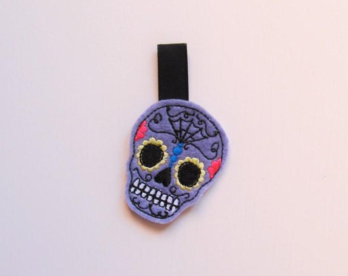 Skull calavera key fob feltie, mini machine embroidery design felt outline mini embroidery keyfob felties in the hoop ITH embroidery project