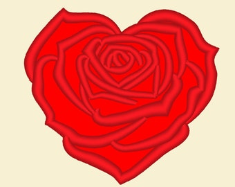 Heart rose -  machine embroidery applique designs - 4x4, 5x7, 6x10  INSTANT DOWNLOAD