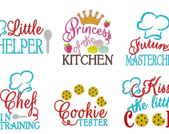 Kids apron kitchen awesome quotes - assorted sizes 4x4 and 5x7 machine embroidery designs Instant download