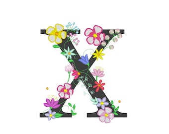 Floral letter X  garden flag monogram lace swirl flowers block font and mini Font machine embroidery design monogram X only 4, 5, 6 and 8 in