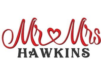 Mr LOVE Mrs wedding gift machine embroidery design Mr and Mrs with heart gift idea towel, cushion, pillow etc for hoop 4x4, 5x7 and 6x10