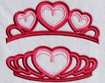 Princess Tiara, Princess Crown SET of 2 machine embroidery applique designs 4, 6 and 7 inches height INSTANT DOWNLOAD valentine heart crown