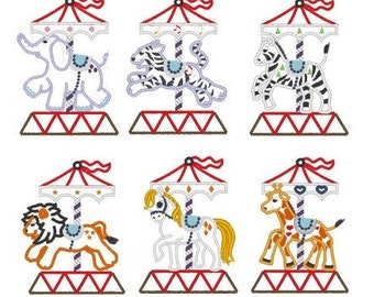 Carousel - 6 items, elephant, giraffe, horse, tiger, lion, zebra - machine embroidery applique designs 5x7 and 6x10 INSTANT DOWNLOAD