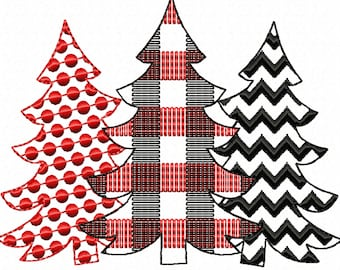 Plaid checked Polka dot Chevron Woodlands Tree Trio raggedy free edge Applique Triple Applique design 3 Christmas tree in a row embroidery
