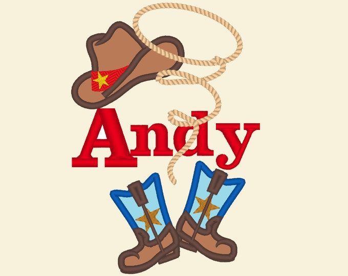 Cowboy baby boy name and font included! - machine embroidery applique designs 4x4, 5x7 INSTANT DOWNLOAD