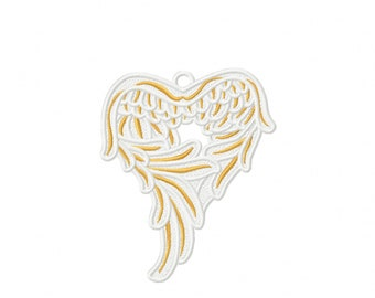Angel wings FSL, Free standing lace angel wing Christmas decoration ornament machine embroidery designs for hoop 4x4, 5x7 assorted sizes