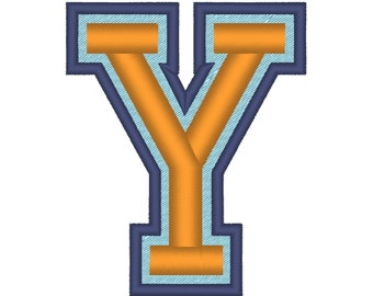 Varsity Collegiate, Collegiate block type Font machine embroidery design, many sizes, sport letters and numbers, 3 colors fill stitch