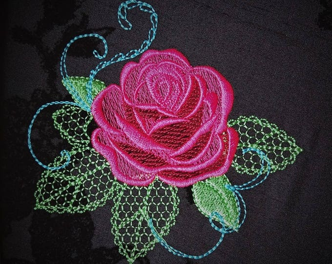 Urnban curl and swirl shadow and Shabby Chic Rose Urban rose - machine embroidery designs for embroidery hoops 4x4 5x7 and 6x10
