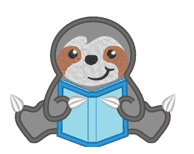 Sloth Reading book, sloth with book, book, sloth applique - machine embroidery design - 4x4, 5x7