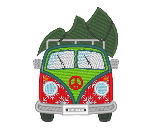 Christmas tree and Camper, camper van, van bus, bug, Christmas holidays - machine embroidery applique designs, for hoops 4x4, 5x7 and 6x10
