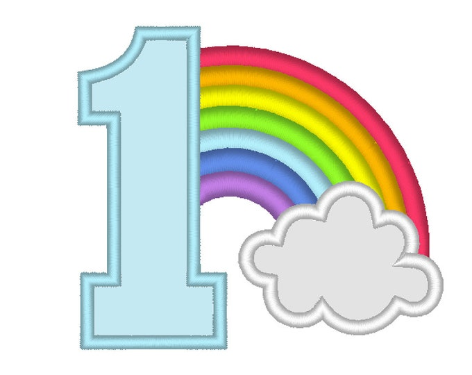 Rainbow in cloud Birthday Number 1 ONE machine embroidery applique designs assorted sizes, kids children kinder baby first birthday party