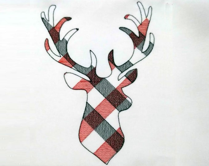 Plaid gingham Deer Silhouette  - Machine embroidery designs - 4, 5, 6 and 7 inches  INSTANT DOWNLOAD