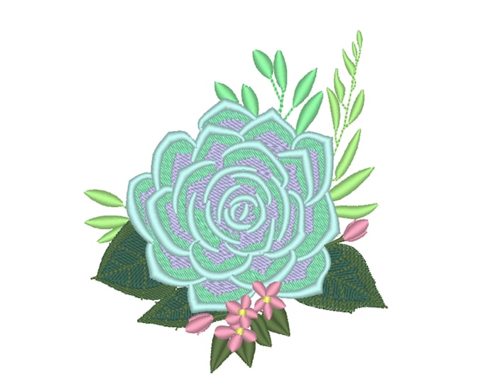Succulent Bouquet flowers floral composition machine embroidery designs assorted sizes succulent cactus plant wee blossom bloom embroidery