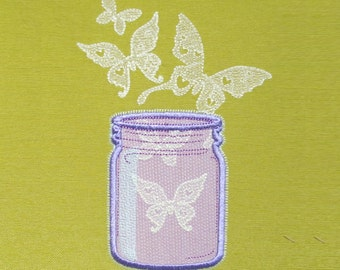 Mason jar and butterflies for girls / Glow in the dark special designed machine embroidery  5x7, 4x4 /
