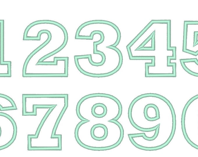Wide satin stitch Numbers, machine embroidery applique designs - 2, 3, 4, 5 and 6 inches BX included