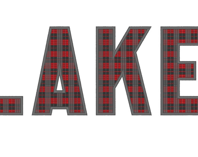 Buffalo Plaid Tartan Gingham Sport Font, letters and numbers, machine embroidery applique designs 2, 3, 3.5, 4, 5, 6, 7in, BX