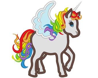 Rainbow unicorn - machine embroidery designs applique Rainbow unicorn embroidery  INSTANT DOWNLOAD