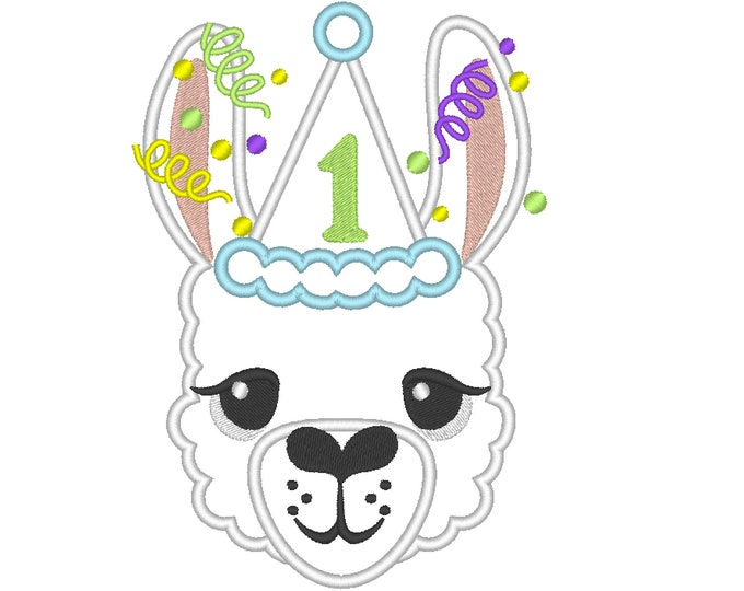 Number 1 First birthday Llama alpaca Birthday hat outfit llama with number ONE Applique Design lama machine embroidery designs 4x4 5x7 6x10