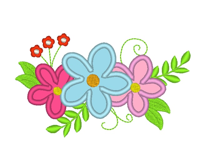Simply cowgirl farm shabby Chic flowers Bouquet crown - machine embroidery designs for embroidery hoops 4x4 and 5x7