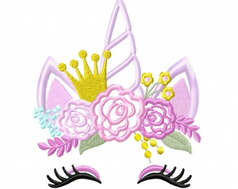 Birthday crown Unicorn with shabby chick roses crown applique machine embroidery designs applique Rainbow unicorn embroidery unicorn face