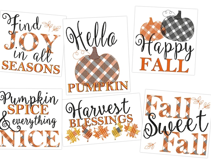 Happy Pumpkin fall Autumn Thanksgiving Kitchen dish towel quotes SET of 6 pcs machine embroidery designs 4x4, 5x7, 8x8 aprons and pillows