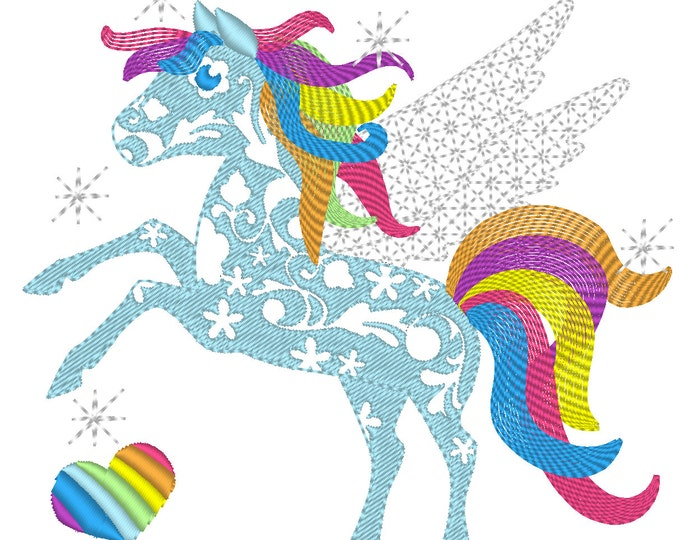 Curly rainbow unicorn pegasus - machine embroidery designs in various size, rainbow unicorn horse machine embroidery INSTANT DOWNLOAD