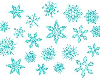 Micro mini small 8 single Snowflakes  - machine embroidery design - files in mini sizes 0.45, 0.6, 0.8 inch sizes small snowflake INSTANT
