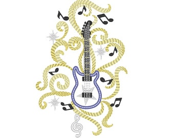 Rock Guitar music notes musician rocking glow in the dark special machine embroidery applique design size for hoop 5x7 INSTANT DOWNLOAD