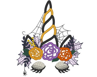 Witchy Halloween spider Unicorn Witch hat shabby chick roses flowers crown applique machine embroidery designs Rainbow unicorn face fall