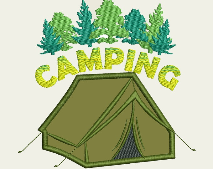 Camping tent applique embroidery embroidery design, wild and free, campin tent applique, 4x4, 5x7 and 6x10