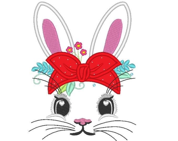 Easter Bunny face with heifer bandanna with little polka dot, bunny ears, bunny face applique machine embroidery design hoop 4x4, 5x7, 6x10