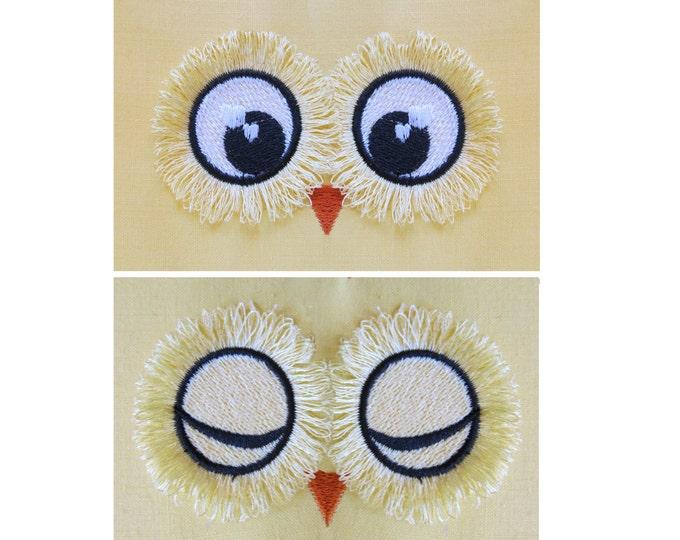 Fringed, fluffy, flare lashes Owl eyes - 2 types -  machine embroidery designs