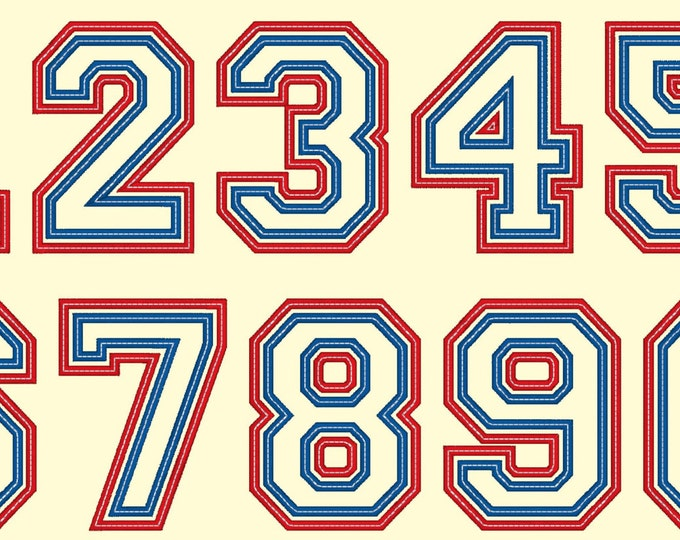 Two layers double applique Athletic Sport High School Team Players embroidery Numbers only, machine embroidery applique designs, BX included