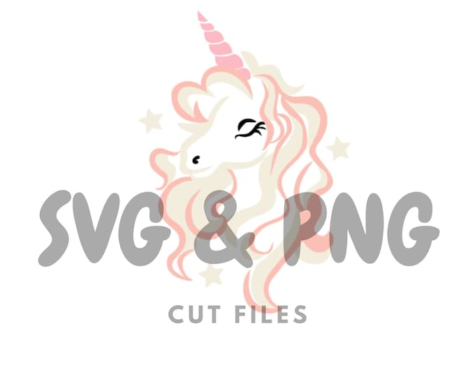 Rainbow unicorn  SVG and PNG cut files to use with the Silhouette Cameo or Cricut