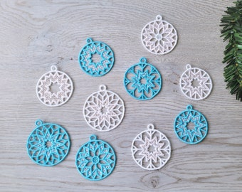 Christmas Tree Ornaments FSL free standing lace SET of 5 lace Snowflake decoration machine embroidery designs assorted sizes classic shape