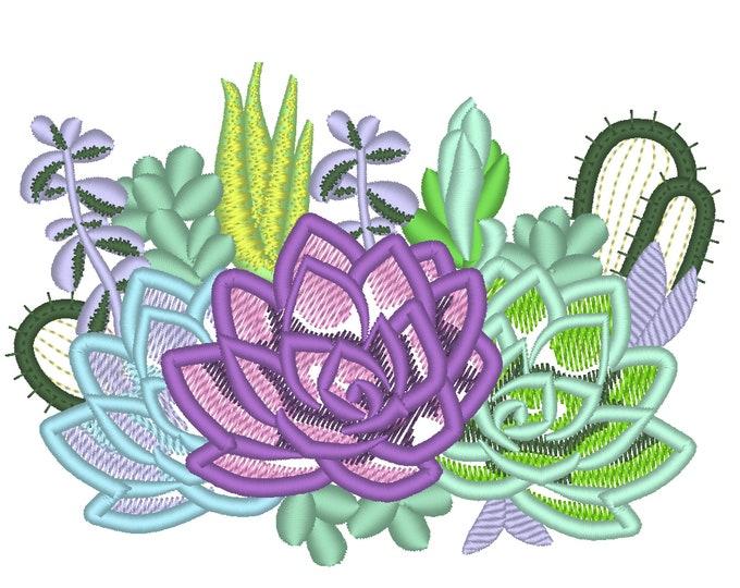 Succulents and cactus Succulent flowers floral bouquet applique machine embroidery designs 4, 5, 6, 7in succulent plant INSTANT DOWNLOAD